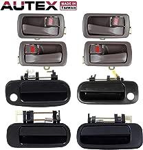 AUTEX 4pcs Interior + 4pcs Exterior Door Handles Front Rear Left Right Compatible with Toyota Camry 1992 1993 1994 1995 1996 Door Handles 77619 1150407 77386 77401 80493 80486