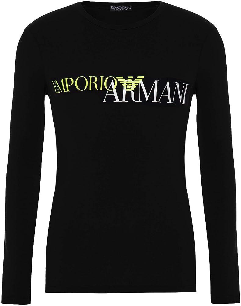Emporio armani, maglietta uomo, t-shirt manica lunga, girocollo,95% cotone, 5% elastan 111907