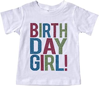 Toddler Kids Baby Girl Clothes Outfit Birthday Girl Letter Print T-Shirt Top Glitter Blouse Shirts