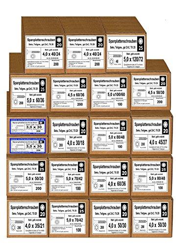 20 Pkt TORX - Spanplattenschrauben, verzinkt 3 x 30 bis 5 x 120, Holzschrauben, Schrauben