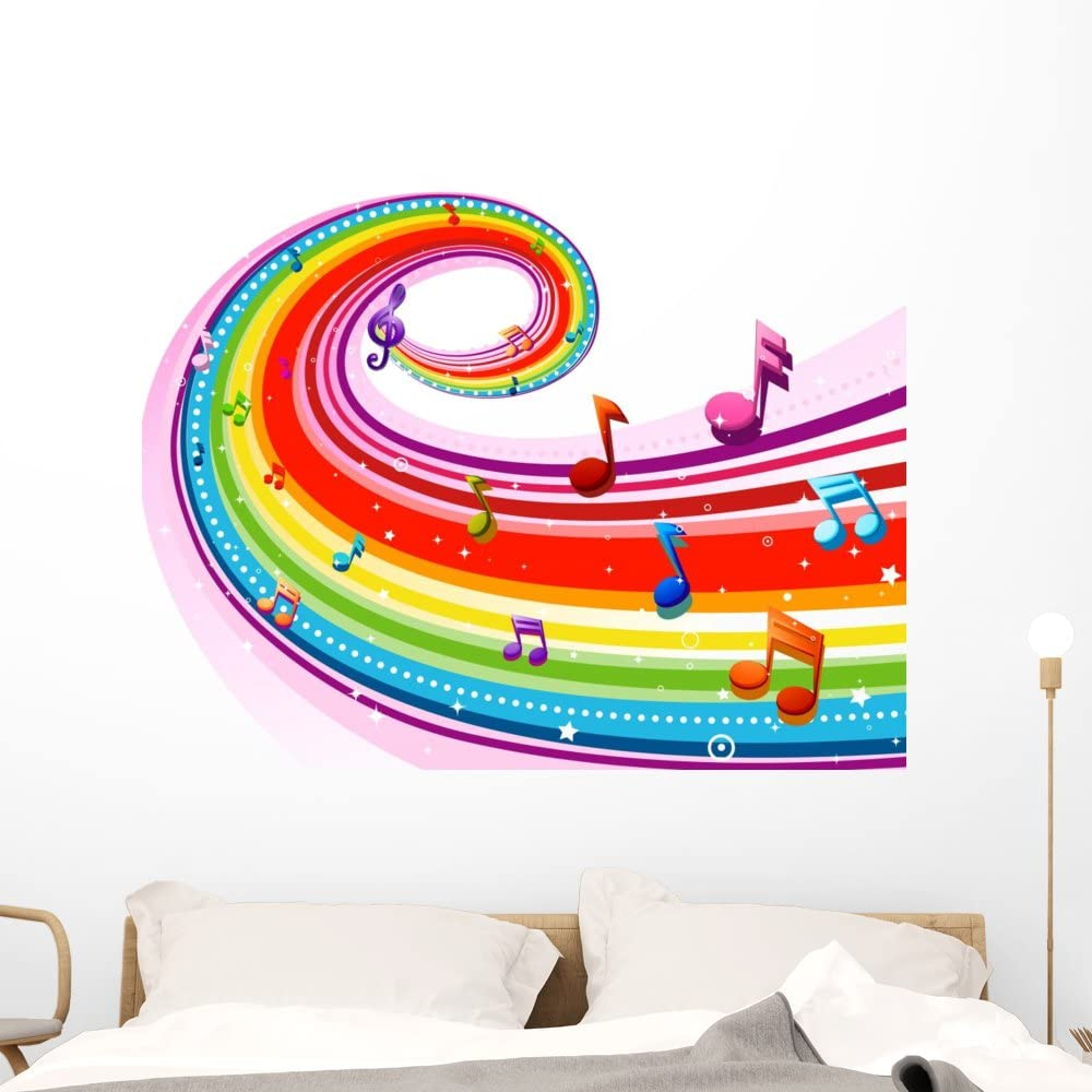 Wallmonkeys Swirling Rainbow Music Wall Decal Peel And Stick Decals For Girls 24 In W X 18 In H Wm418474 Furniture Decor