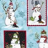 Fat Quarter Holly Jolly Christmas Schneemann Baumwolle