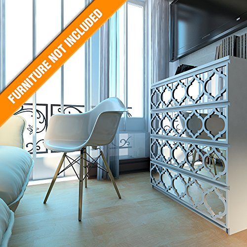 HomeArtDecor | Trellis Lattice Fretwork | Suitable for IKEA Malm | 31.49 x 7.87 inches | Color: White and Mirror | Modern Furniture Decoration | Handmade Fretwork Hardware | Home Décor