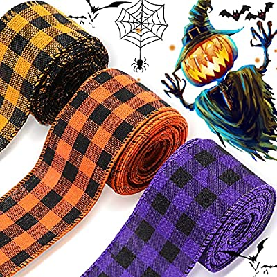3 Rolls 15 Yards 2 Inches Halloween Plaid Wired...