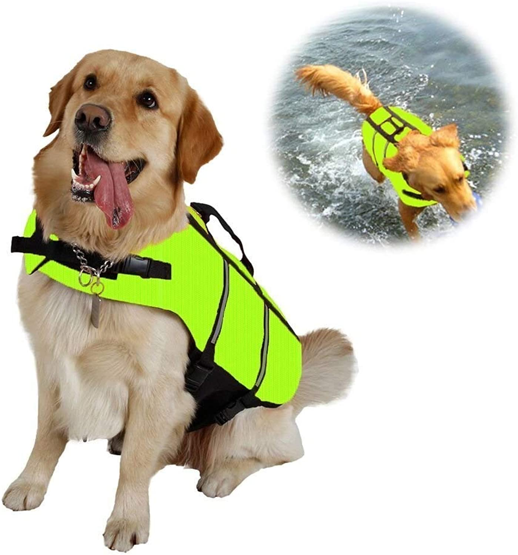 Raincoat Dog Swimming Life Jacket Floatation Vest Coat with Adjustable Belt (color   Green, Size   XL)