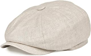 BOTVELA Men's Linen Newsboy Cap Herringbone Breathable Summer Hat
