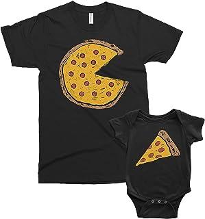 Threadrock Pizza Pie & Slice - Dad Baby Toddler Son Daughter Matching Shirts Set