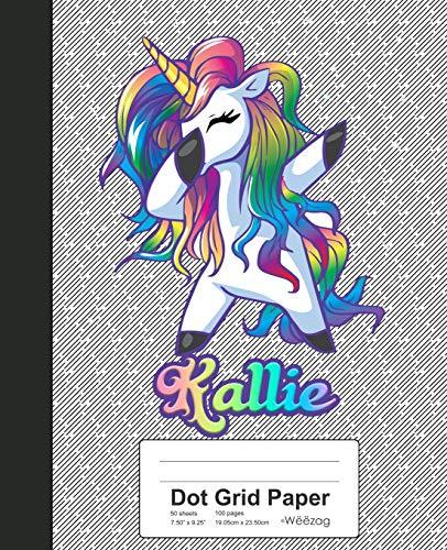 Dot Grid Paper: KALLIE Unicorn Rainbow Notebook (Weezag Dot Grid Paper Notebook, Band 808)