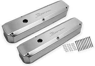 Holley 890003 Aluminum Valve Cover Set w/Emissions Port Pair Natural Finish Aluminum Valve Cover Set