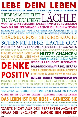 empireposter Motivational - Lebe Dein Leben Bunt Motivations Poster Plakat Druck - Grösse cm