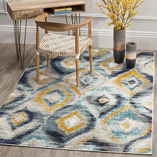 Safavieh Monaco Collection MNC242J Modern Geometric Ogee Watercolor Blue and Multi Distressed Area Rug (6'7' x 9'2')