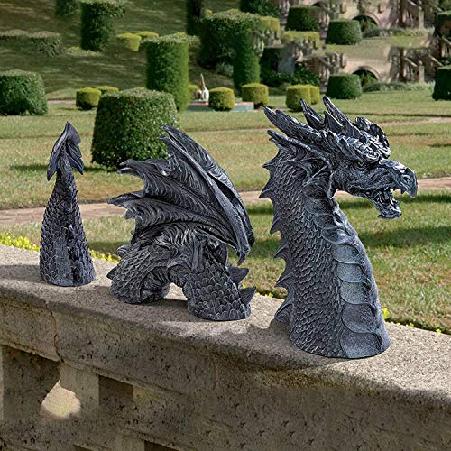 Large Dragon Garden Statues Ornaments,Dragon Gothic Garden Decor Statue,The Dragon of Moat Lawn Statue,Garden Sculptures & Statues,Yard Art,Funny Resin Ornament for Outdoor Decoration,3 parts (Black)