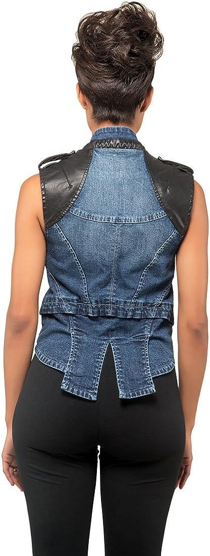 Poetic Justice Curvy Women's Blue Stretch Denim Vegan Leather Detail Moto Vest