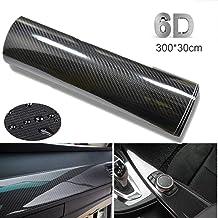 BangShou Autofolie Carbon Folie 6D Autofolie Vinyl Wrap DIY Autofolie met Luchtkanalen Verdikte Decoratieve 300 x 30 cm (Z...