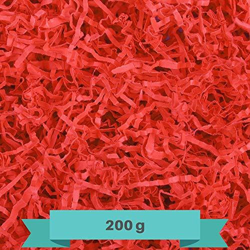 Creative Deco 200g Rot Füllmaterial aus Papier | Papier-Schnitzel | Deko-Stroh für Zuhause | Verpackungs-Material für Weihnachts-Geschenke und Geschenk-körbe