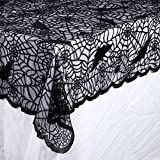OurWarm Halloween Tablecloth, Rectangular Polyester Lace Tablecloth Black Spider Web Tablecover for Scary Movie Nights Halloween Table Decorations, 60 x 84 Inch