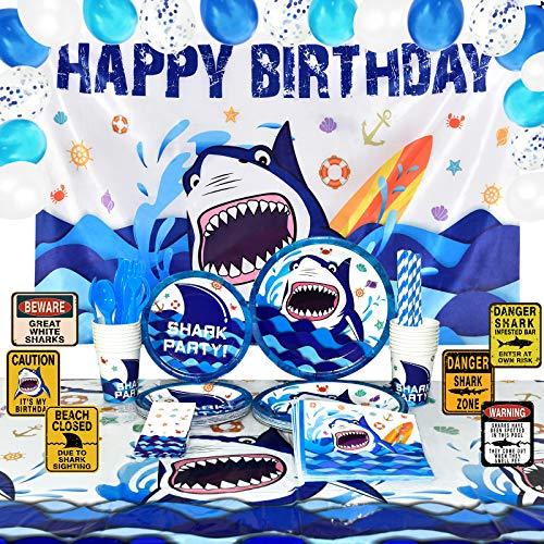 WERNNSAI Tiburón Cumpleaños Decoraciones de Fiesta - Azul Oceano Suministros para la...