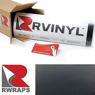 Rwraps 5D Black Carbon Fiber 5ft x 1ft W/Application Card Vinyl Vehicle Car Wrap Film Sheet Roll