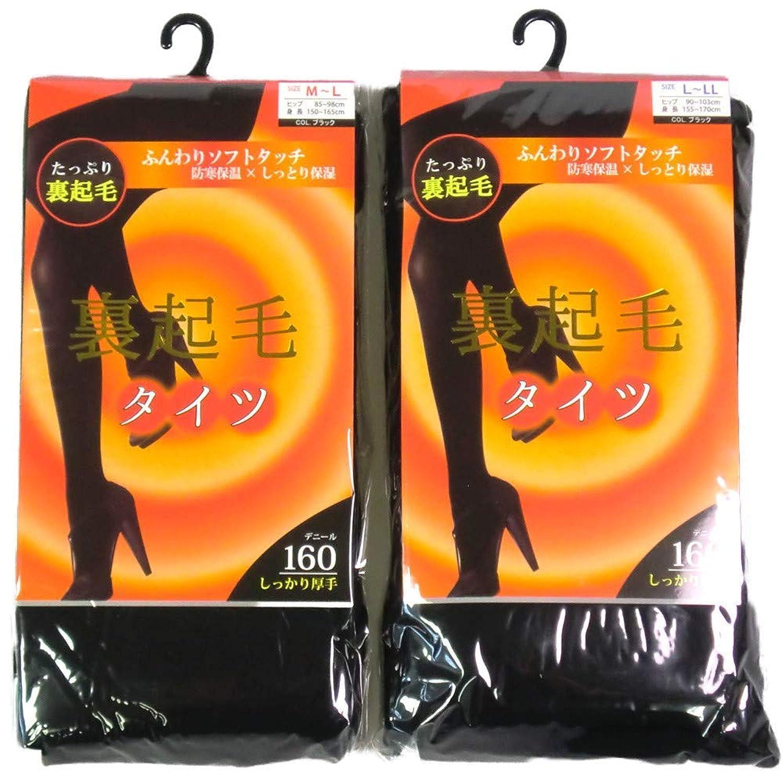【2足組】160デニール しっかり厚手 たっぷり裏起毛タイツ【ブラック】防寒保温 しっとり保湿