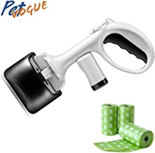 PetVogue Pet Dog Pooper Scooper Clamp Set for Dogs with 4 Scented Poop Bags, Top Paw Jaws, Valuable Package for Pick Up Pets Waste (White)