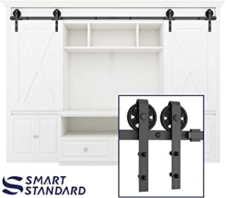 SMARTSTANDARD 8FT Mini Sliding Barn Door Hardware Track Kit -Super Smoothly and Quietly -for Double Opening Cabinet, TV Stand, Closet, Window -Fit 24