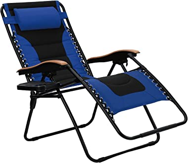 PHI VILLA Oversize XL Padded Zero Gravity Lounge Chair Wider Armrest Adjustable Recliner with Cup Holder, Support 350 LBS, Bl
