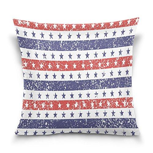 ALAZA 4ème génération de Juillet Stars and Stripes Grunge USA Soft Soild Housse de Coussin carrée décorative taies d'oreiller pour canapé, Chambre à Coucher, Voiture 40,6 x 40,6 cm, Coton, 41 x 41 cm