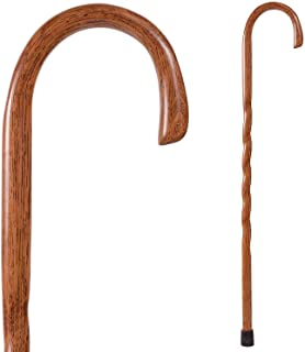 Handcrafted Wood Walking Cane - Made in the USA by Brazos - Twisted Oak Crook Neck Classic - Red