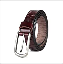 Men's Genuine Belt Casual Pants with Single Prong Buckle Fashion (Color : Red Brown, Size : XXL)