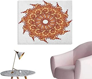 Anzhutwelve Henna Photo Wall Paper Eastern Civilization Inspired Floral Tattoo Design Mehndi Motif Illustration Poster Print Mustard Dark Orange W32 xL24