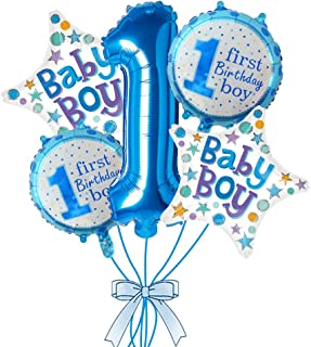 Rozi Decoration 1st Birthday Boy Foil Balloon Set(Pack of 5-Blue)