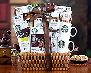 Wine Country Gift Baskets Starbucks Spectacular Coffee Lovers Gift Basket. Sampler Gourmet Basket for Mother's Day. Family Gift Basket, Corporate Gift Basket, Cozy Gift Set