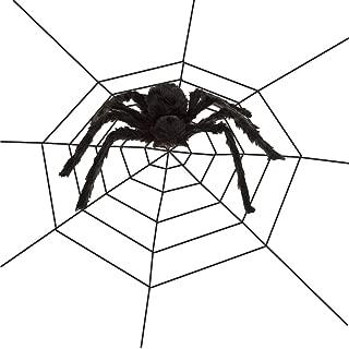 Flow.month Halloween Decorations 50'' Black Fake Spider 10FT Spider Web for Halloween Party, Indoor Outdoor Yard Spiderweb Decoration
