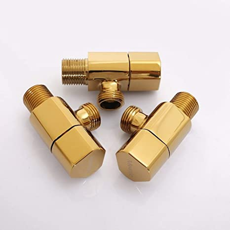 XIEJING Copper Hot Cold Water Black Triangle Valve Bathroom Accessory 1//2 1//2 Brass Valves Angle Brass Bathroom Accessories Cut Off valves Water