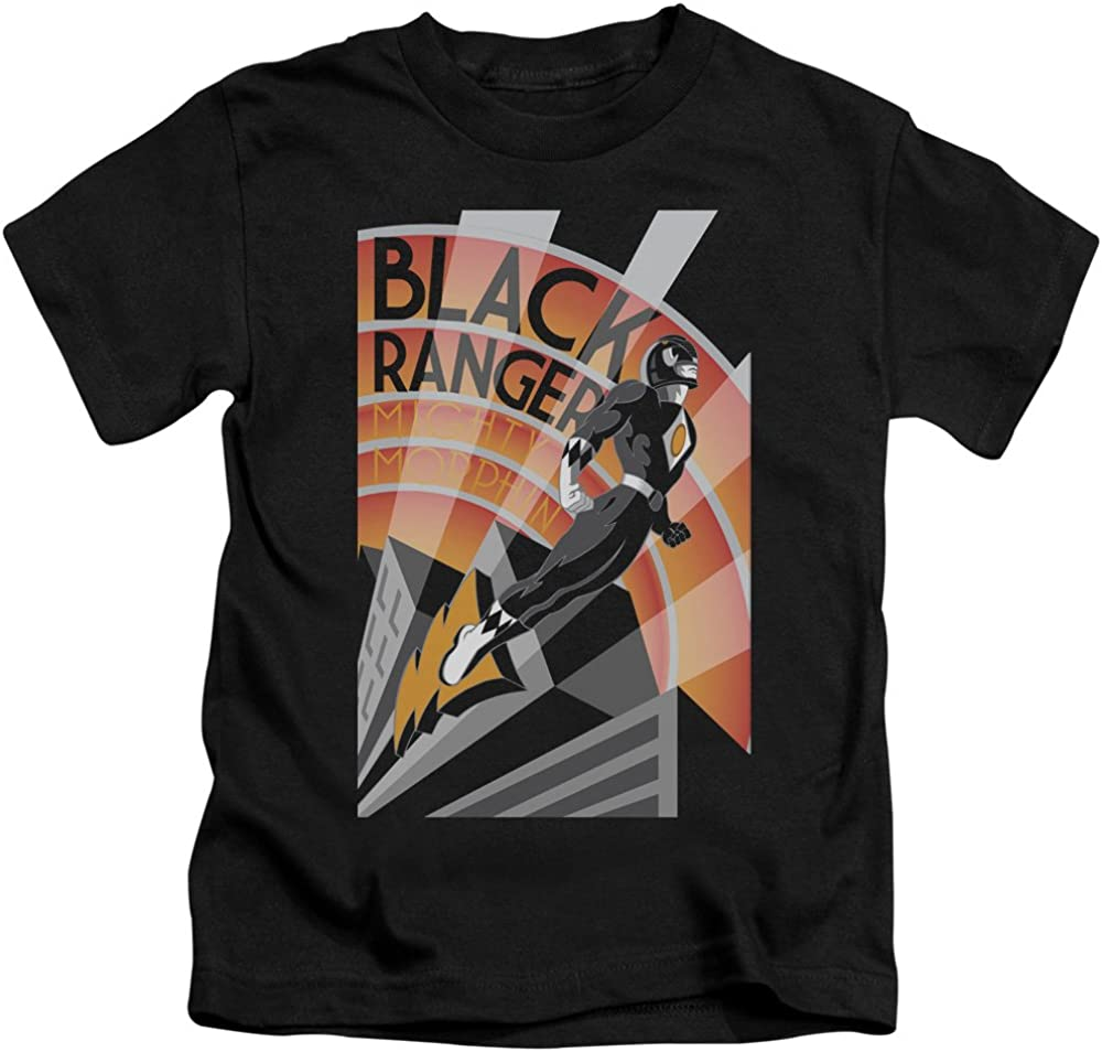 Power Rangers - Juvenile T-Shirt Art Deco style Black Ranger