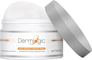 Anti-Blemish Control Pads- Contains Salicylic, Glycolic, Lactic Acid for Face & Body. Clears Away Clogged Pores, Oily Skin & Cystic Breakouts. Removes Dark Spots, Blackhead & Whitehead Pimples