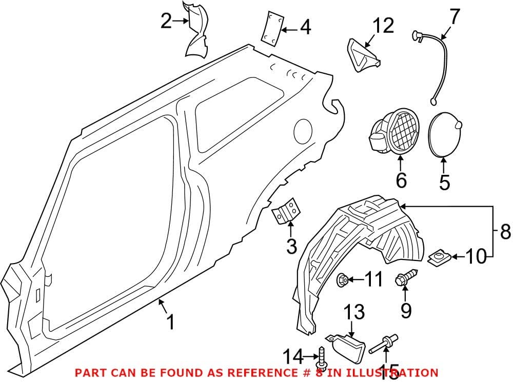 Genuine OEM Rear Driver Left Quarter Min Shield Max 58% OFF Splash For Panel Soldering