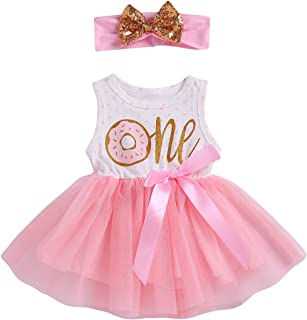 2Pcs Baby Girls Tutu Dress 1st Birthday Long Sleeve Stripe Donut Romper Top Lace Skirt with Headband Outfit Fall Clothes
