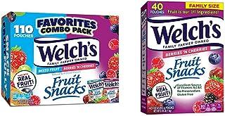 Welch's Fruit Snacks, Mixed Fruit & Berries 'n Cherries, 0.9 oz Individual Single Serve Bags (Pack of 110) & Fruit Snacks,...