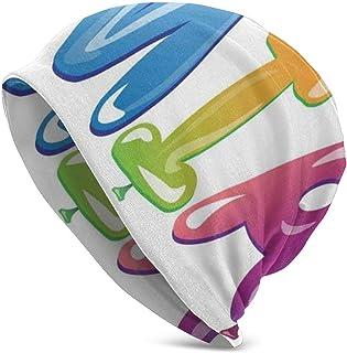 Gorro - Diseño de Nombre Femenino con orígenes Antiguos Patrón de Letras de Globos Festivos Coloridos - Gorra de Gorro de Punto con Calavera Lisa Unisex con puño Unisex
