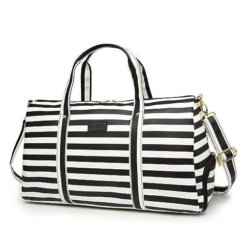 92010584bc2e Elenture Weekender Tote Bag Leather Travel Duffel Bag Overnight Carry Bag  (Black White Stripe