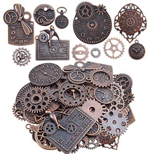 Aylifu Schmuck Charms Anhänger, 100g Zahnräder Steampunk Metall Anhänger Uhren Schmuckanhänger Charms zum Basteln für Armband Halskette - Bronze Farbe