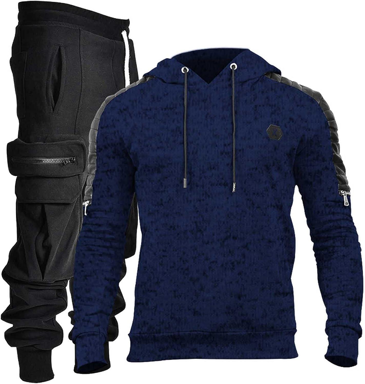 Mens Casual Jogging Sweatsuits Set 2 Pieces Set Men's Fashion Hooded Tracksuits Sports Suit Athletic Comfy Sets