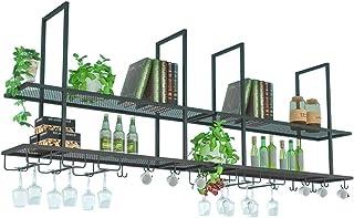 ZHXYY Casiers à vin muraux, Support de Suspension en Verre à vin de Bar Vintage en métal, étagère de Tasse sous l'armoire,...