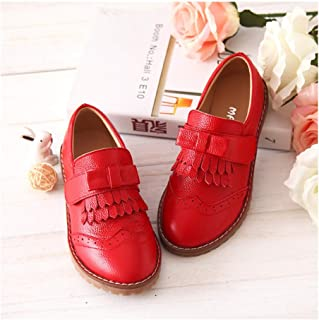 MINGAZ Fringed Children's Shoes, Student Shoes, Girls' Leather Shoes, Girls' Shoes (Color : Red, Size : 29EU)