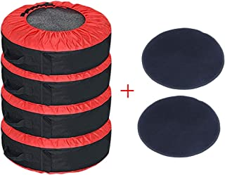 J&C 4 Pcs 30INCH Red Tire Cover +2 Pcs Wheel Felts Durable Spare Tire Protection Tote Covers Seasonal Tire Storage Bag for...