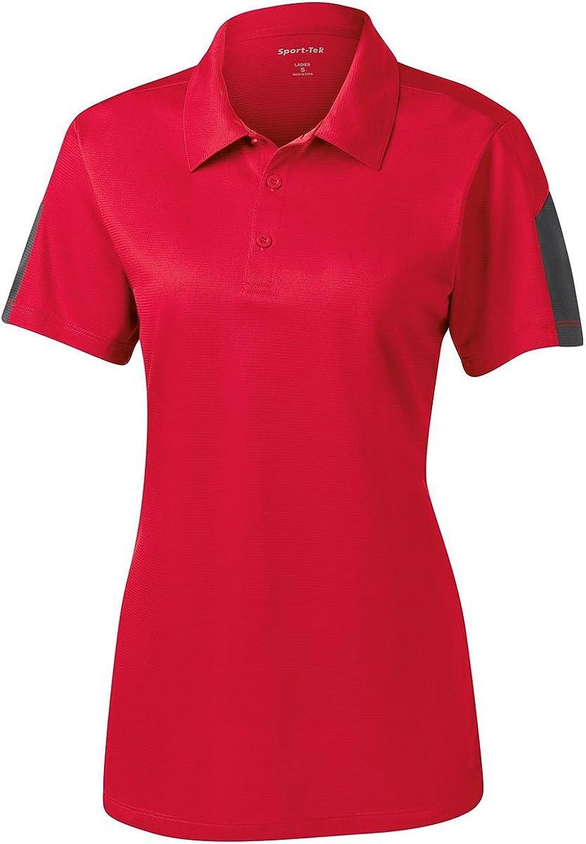 Sport-Tek Ladies PosiCharge Active Textured Colorblock Polo. LST695 True Red