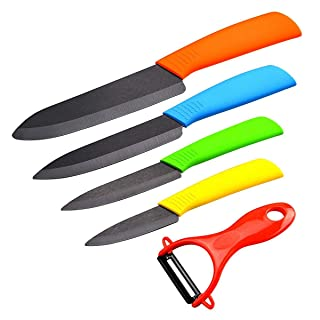 Cuchillos de Cerámica Set, 4 Piezas Cuchillos de Cocina y 1 Pelador Cerámica (6