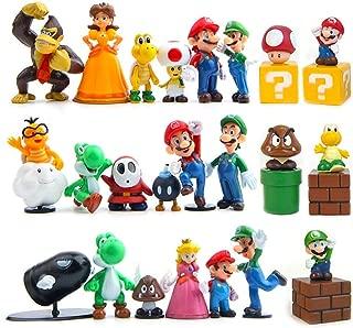 JoySee 28 Pcs/Set PVC Super Mario Bros Super Mary Princess, Turtle, Mushroom, Orangutan, Super Mary Action Figures for Kids & Adults, 1.8-2.6 inch