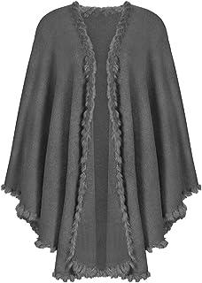 Das Kostümland Trachtenland Strick Stola mit Fellbesatz - Schultertuch Poncho Cape Schal zu Dirndl, Trachten und Abendkleidern